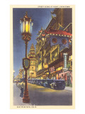Night in Chinatown, San Francisco, California Poster