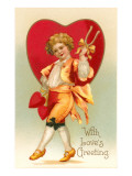 With Loves Greeting, Prancing Boy with Wishbone Prints