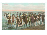 Crowds of Vintage Bathers Poster