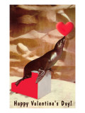 Happy Valentines Day, Seal Balancing Heart Prints