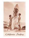Couple with Surfboard with Octopus Motif Posters