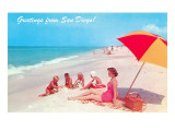 Greetings, Family on Beach, San Diego, California Prints