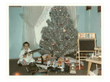 Boy with Gun and Fake Christmas Tree Print