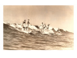 Group of Surfers on Long Boards Poster