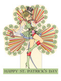 Happy St. Patrick's Day, Woman in Top Hat Art