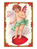 To My Valentine, Cupid Standing on Heart Posters