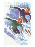 Couple Racing through Powder on Skis Posters
