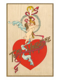 To My Valentine, Cupids with Candle Print