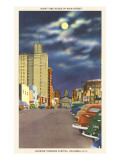 Moon over Main Street, Columbia, South Carolina Print