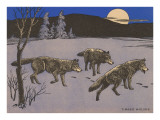 Woodcut of Timber Wolves Prints