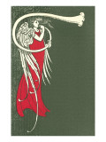 Art Deco Angel Blowing Trumpet Print
