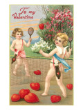 To My Valentine, Cupids Playing Tennis Prints