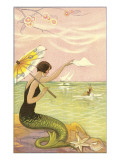 Mermaid with Parasol Waving to Rower Posters
