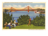 Golfing, Golden Gate Bridge, San Francisco, California Prints