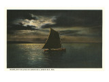 Moon over Sailboat on Green Bay, Wisconsin Print
