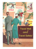 Couple Eying Posters, Travel Well and Safely Prints