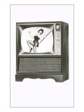 Console Television Set with Majorette Posters