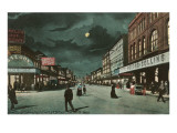 Moon over Main Street, Fort Worth, Texas Prints