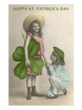 Children with Giant Clover Leaf, St. Patrick's Day Prints