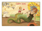 Mermaid with Parasol, Galveston, Texas Poster
