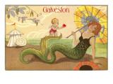 Mermaid with Parasol, Galveston, Texas Prints