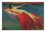 Naked Woman Riding Large Gold Fish Posters