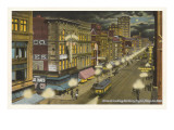 Moon over Main Street, Memphis, Tennessee Posters