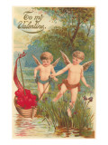To My Valentine, Cupids with Boat of Hearts Posters
