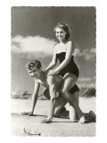 Fifties Couple on Beach Art