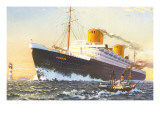 Ocean Liner Europa with Tugboat Prints