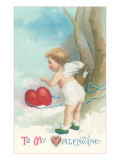 Victorian Cherub with Valentine Heart in Snow Poster