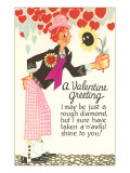 A Valentine Greeting, Cartoon Man with Hearts Posters