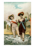 Old Fashioned Women Frolicking at Shore Poster
