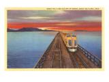 Streamlined Train Crossing Great Salt Lake, Utah Print