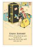 Crying Dog Amid Luggage, Happy Journey Prints