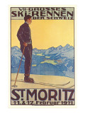 St. Moritz Ski Run, Art Deco Prints