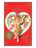 To My Valentine, Cupid with Tambourine Print