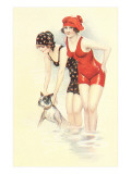 Women in Bathing Costumes with Terrier Print