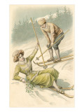 Bonne Annee, Old Fashioned Skiers Posters
