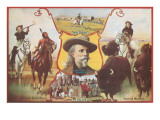 Buffalo Bill with Indians and Bison Prints