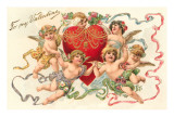 To My Valentine, Cupids Around Heart, Poster