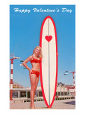 Happy Valentine's Day, Surfer Girl Posters