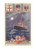 Ocean Liner with Coats of Arms Posters