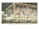 Night View of the People's Store, Tacoma, Washington Poster