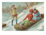 Children Sledding in Toboggans Prints