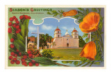 Season's Greetings, Mission, Santa Barbara, California Print