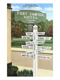 Ft. Sumter Hotel, Distance Markers, Charleston, South Carolina Poster