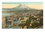 Mount Tacoma und Stadtzentrum Tacoma, Washington Poster