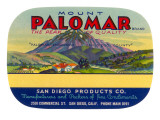 Orange Crate Label, Mount Palomar, California Posters