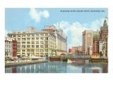 Fluss Milwaukee, Stadtzentrum Milwaukee, Wisconsin Kunstdruck